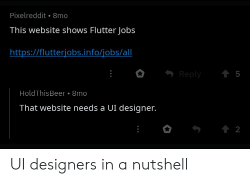 Pixelreddit 8mo This Website Shows Flutter Jobs