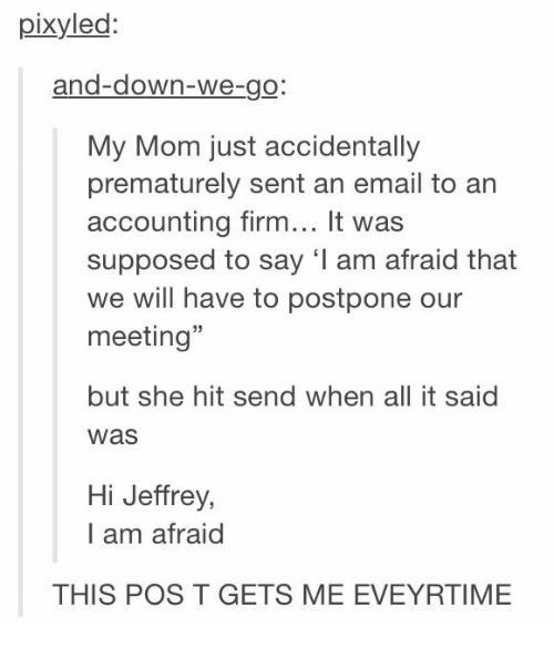 """Email, Mom, and Accounting: pixyled  and-down-We-go  My Mom just accidentally  prematurely sent an email to an  accounting firm... It was  supposed to say 'I am afraid that  we will have to postpone our  meeting""""  but she hit send when all it said  was  Hi Jeffrey,  I am afraid  THIS POS T GETS ME EVEYRTIME"""