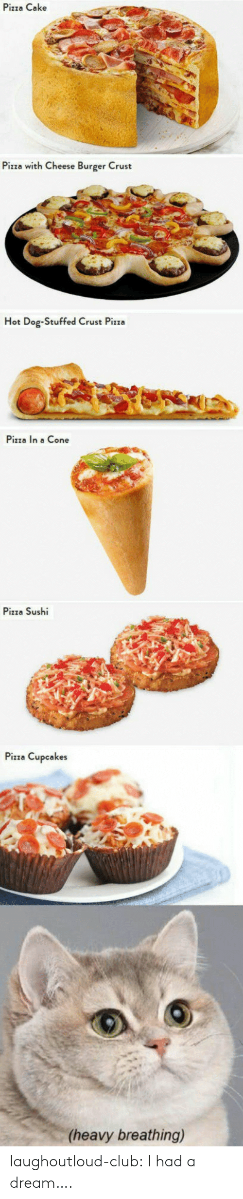 A Dream, Club, and Pizza: Pizza Cake  Pizza with Cheese Burger Crust  Hot Dog-Stuffed Crust Pizza  Pizza In a Cone  Pizza Sushi  Pizza Cupcakes  (heavy breathing) laughoutloud-club:  I had a dream….
