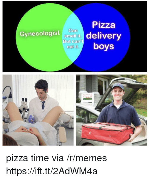 Memes, Pizza, and Smell: Pizza  Gynecologist ancan delivery  Can  smell it  But can't  eat it.  boys pizza time via /r/memes https://ift.tt/2AdWM4a