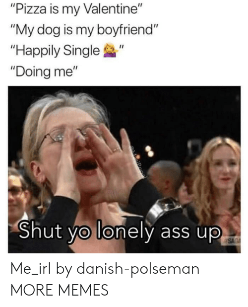"""Ass, Dank, and Memes: """"Pizza is my Valentine""""  """"My dog is my boyfriend""""  """"Happily Single  """"Doing me""""  0  Shut yo lonely ass up Me_irl by danish-polseman MORE MEMES"""