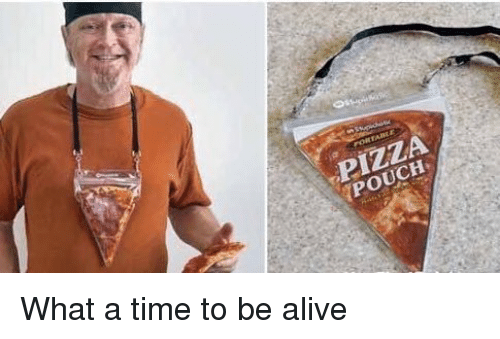 Memes, 🤖, and  Pouch: PIZZA  POUCH What a time to be alive