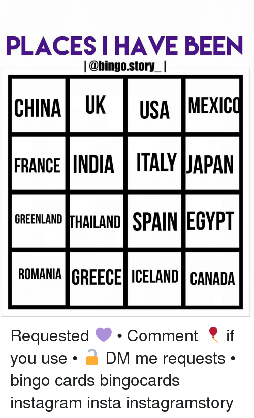 Places I Have Been L Bingostory L China Uk Usa Mexico France India