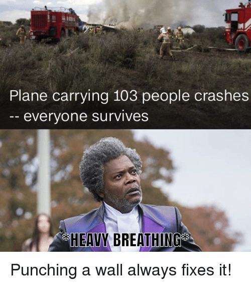 Plane, Always, and People: Plane carrying 103 people crashes  everyone survives  HEAVY BREATHING Punching a wall always fixes it!