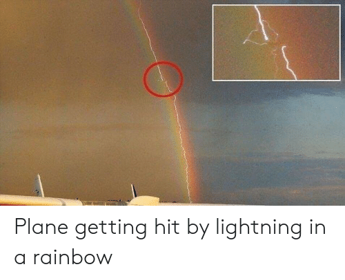Lightning, Rainbow, and Plane: Plane getting hit by lightning in a rainbow