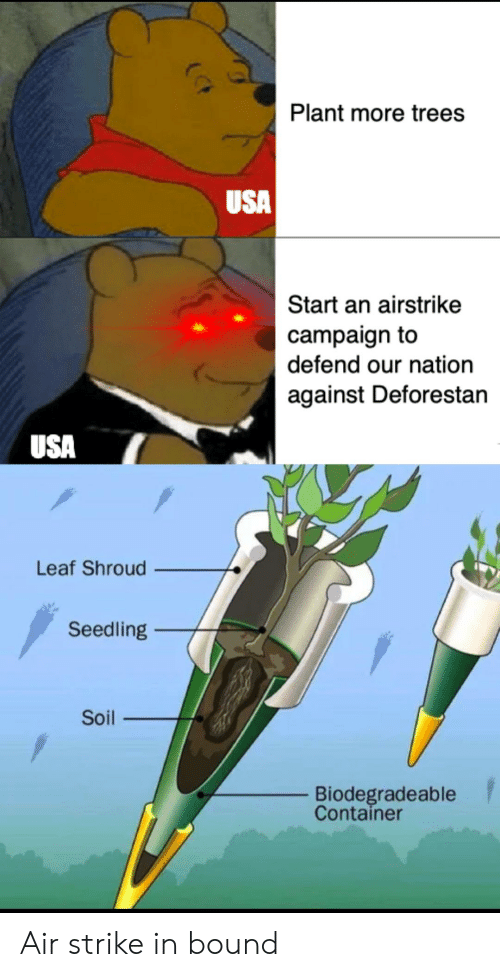 Trees, Dank Memes, and Usa: Plant more trees  USA  Start an airstrike  campaign to  defend our nation  against Deforestan  USA  Leaf Shroud  Seedling  Soil  Biodegradeable  Container Air strike in bound