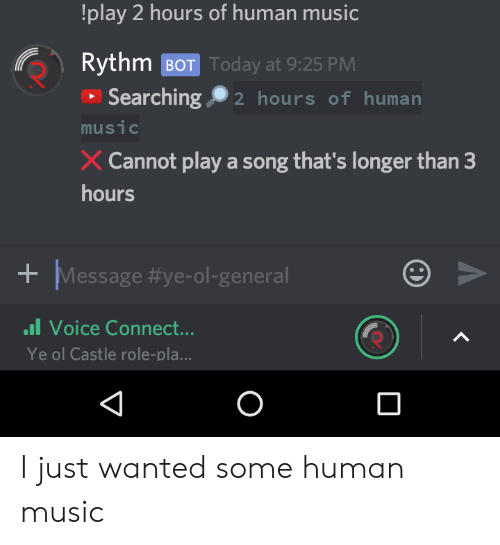 Play 2 Hours Of Human Music Rythm Bot Today At 925 Pm Searching 2