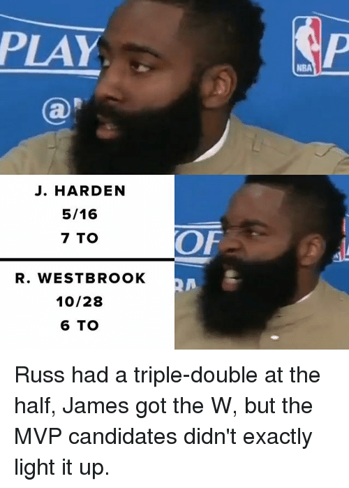 Memes, 🤖, and Got: PLAY  J. HARDEN  5/16  7 TO  R. WESTBROOK  10/28  6 TO  OF Russ had a triple-double at the half, James got the W, but the MVP candidates didn't exactly light it up.