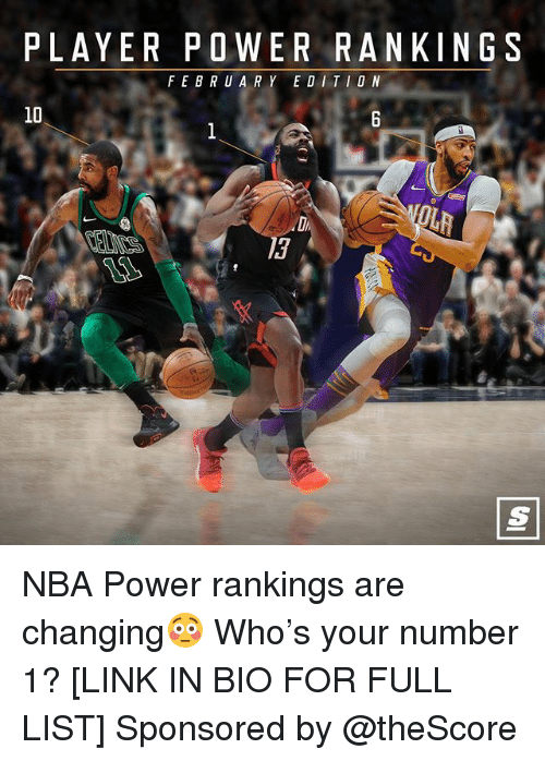 Basketball, Nba, and Sports: PLAYER POWER RANKINGS  FEBRUARY EDITIO N  10  13 NBA Power rankings are changing😳 Who's your number 1? [LINK IN BIO FOR FULL LIST] Sponsored by @theScore