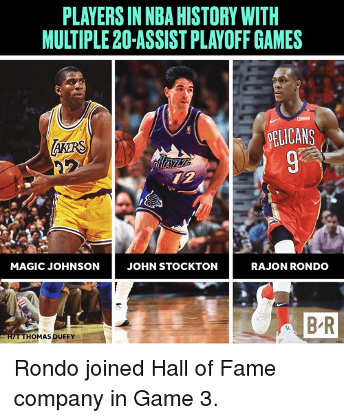 Magic Johnson, Nba, and Rajon Rondo: PLAYERS IN NBA HISTORY WITH  MULTIPLE 20-ASSIST PLAYOFF GAMES  93  MAGIC JOHNSON  JOHN STOCKTON  RAJON RONDO  B-R  THOMAS DUFFY Rondo joined Hall of Fame company in Game 3.