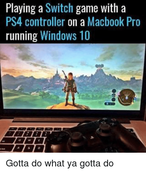 Playing a Switch Game With a PS4 Controller on a Macbook Pro Running