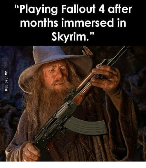 Playing Fallout 4 After Months Immersed In Skyrim Immersion Meme