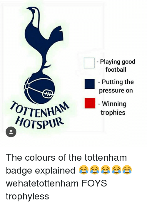 Playing Good Aving Goo Football Putting The Pressure On Winning Trophies Hotspur The Colours Of The Tottenham Badge Explained Wehatetottenham Foys Trophyless Football Meme On Me Me