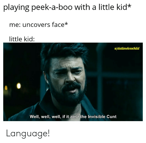 Boo, Cunt, and Language: playing peek-a-boo with a little kid*  me: uncovers face*  little kid:  u/datimelesschild  Well, well, well, if it ain't the Invisible Cunt Language!
