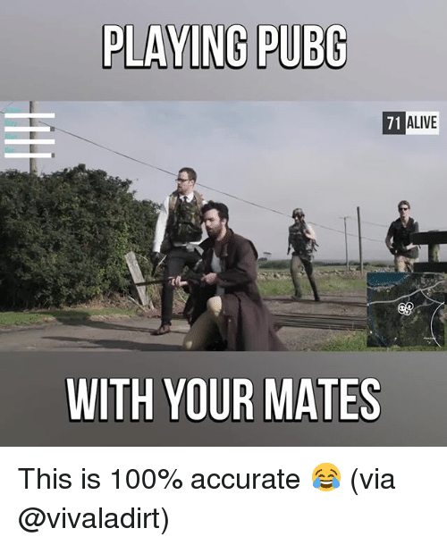 Alive, Anaconda, and Memes: PLAYING PUBG  71 ALIVE  71  WITH YOUR MATES This is 100% accurate 😂 (via @vivaladirt)