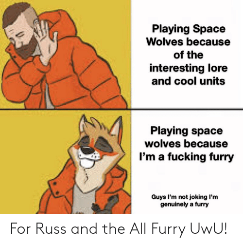 Fucking, Cool, and Space: Playing Space  Wolves because  of the  interesting lore  and cool units  Playing space  wolves because  I'm a fucking furry  Guys I'm not joking I'm  genuinely a furry For Russ and the All Furry UwU!