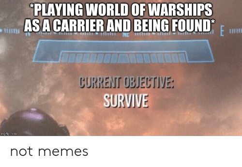 Funny, Memes, and World: PLAYING WORLD OF WARSHIPS  ASA CARRIER AND BEING FOUND  CURRENT OBJECTIVE:  SURVIVE not memes