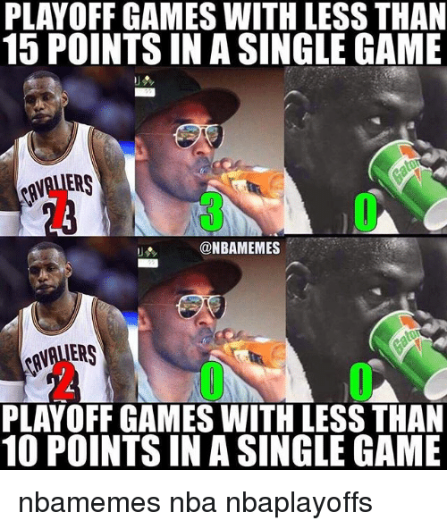 Basketball, Nba, and Sports: PLAYOFF GAMES WITH LESS THAN  15 POINTS INA SINGLE GAME  @NBAMEMES  PLAYOFF GAMES WITH LESS THAN  10 POINTS IN A SINGLE GAME nbamemes nba nbaplayoffs
