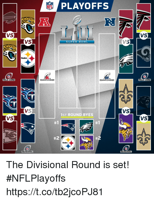 Memes, Super Bowl, and Steelers: PLAYOFFS  RJ  VS  VS  VS  SUPER BOWL  Steelers  WILD CARD  CHAMPIONSHIP  CHAMPIONSHIP  WILD CARD  VS  VS  1ST ROUND BYES  VS  VS  #1  #1  #2  #2  Steelers  DIVISIONAL  DIVISIONAL The Divisional Round is set! #NFLPlayoffs https://t.co/tb2jcoPJ81