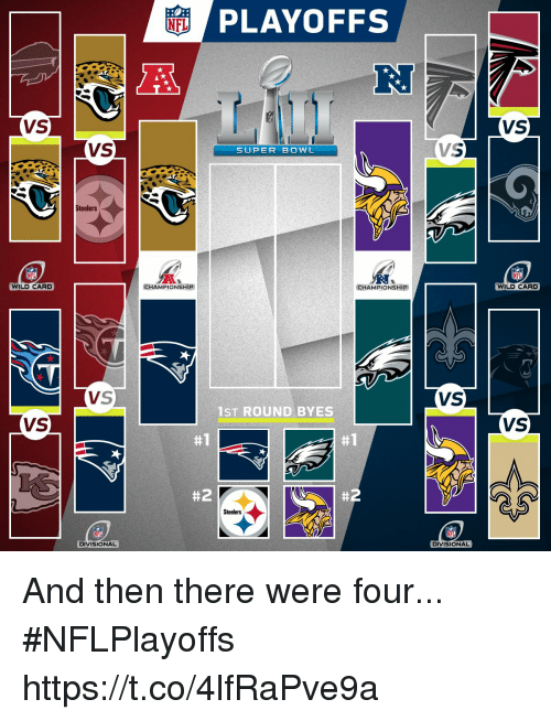 Memes, Super Bowl, and Steelers: PLAYOFFS  RJ  VS  VS  VS  SUPER BOWL  Steelers  WILD CARD  CHAMPIONSHIP  CHAMPIONSHIP  WILD CARD  VS  VS  1ST ROUND BYES  VS  VS  #1  #1  #2  #2  Steelers  DIVISIONAL  DIVISIONAL And then there were four... #NFLPlayoffs https://t.co/4lfRaPve9a