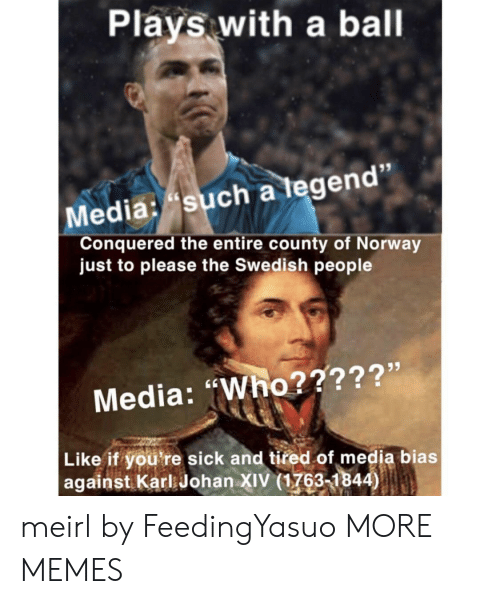 "Dank, Memes, and Target: Plays with a ball  Media: such a tegen  Conquered the entire county of Norway  just to please the Swedish people  Media: ""Who?????'  Like if you're sick and tired of media bias  against Karl Johan XIV (1763-1844) meirl by FeedingYasuo MORE MEMES"
