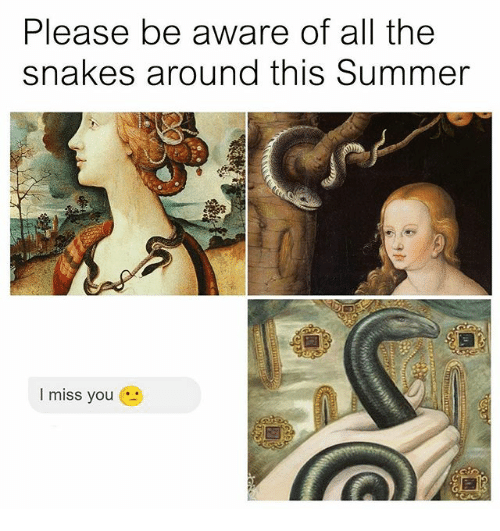 Summer, Snakes, and Classical Art: Please be aware of all the  snakes around this Summer  I miss you