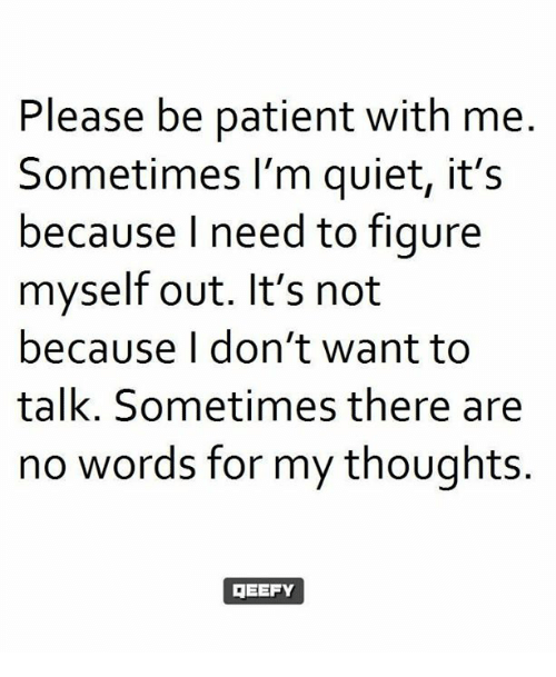 Memes, Patient, And Quiet: Please Be Patient With Me Sometimes Iu0027m