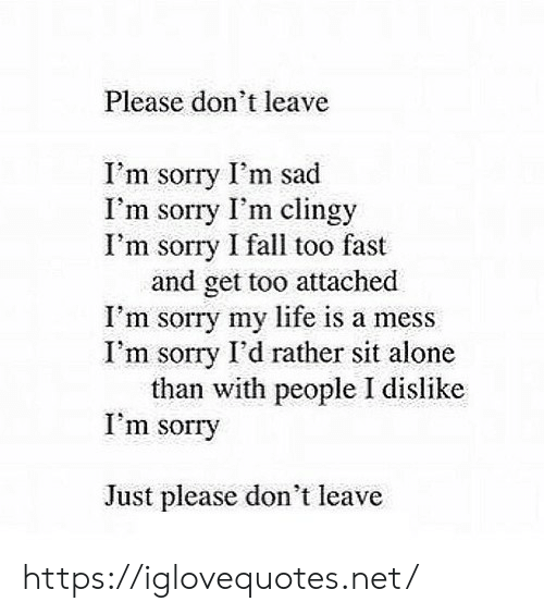 Being Alone, Fall, and Life: Please don't leave  I'm sorry I'm sad  I'm sorry I'm clingy  I'm sorry I fall too fast  and get too attached  I'm sorry my life is a mess  I'm sorry I'd rather sit alone  than with people I dislike  I'm sorry  Just please don't leave https://iglovequotes.net/