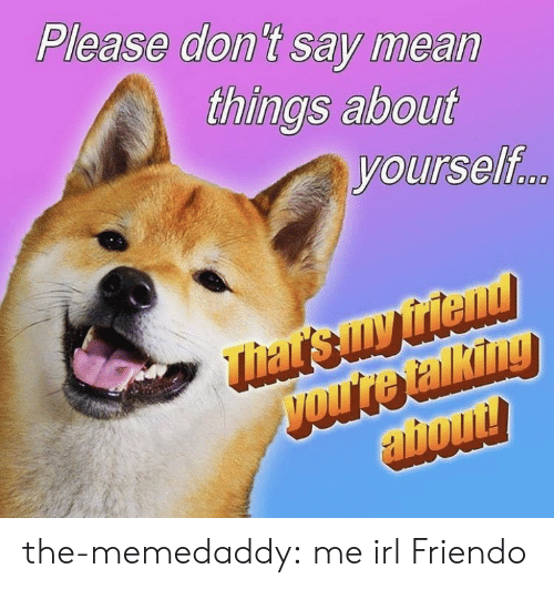 Tumblr, Blog, and Http: Please don't say mean  things about  yourself the-memedaddy:  me irl  Friendo