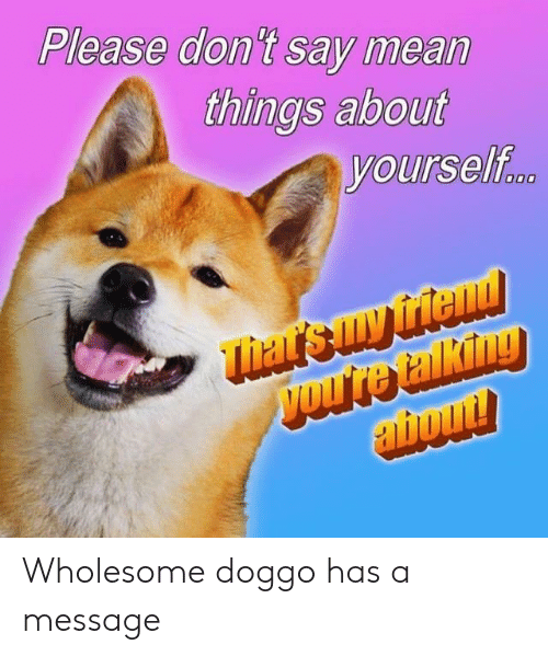 Mean, Wholesome, and Doggo: Please don't say mean  things about  yourself Wholesome doggo has a message