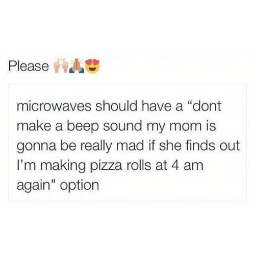 "Memes, Pizza, and Mad: Please  microwaves should have a ""dont  make a beep sound my mom is  gonna be really mad if she finds out  I'm making pizza rolls at 4 am  again"" option"