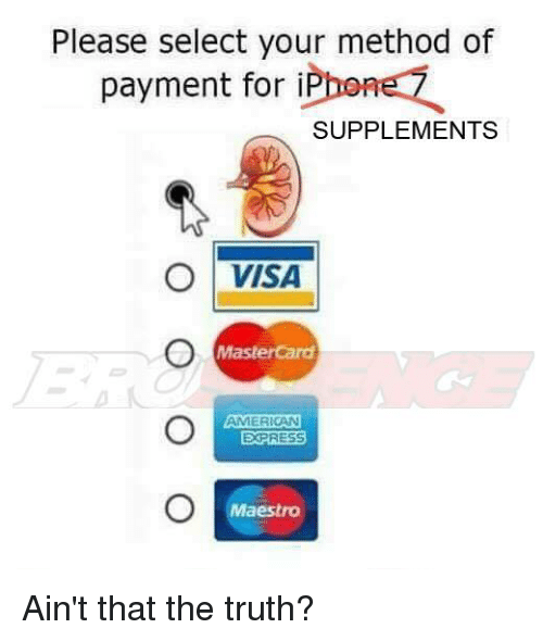 Please Select Your Method of Payment for iP SUPPLEMENTS O