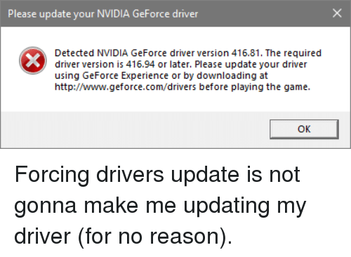 Please Update Your NVIDIA GeForce Driver Detected NVIDIA