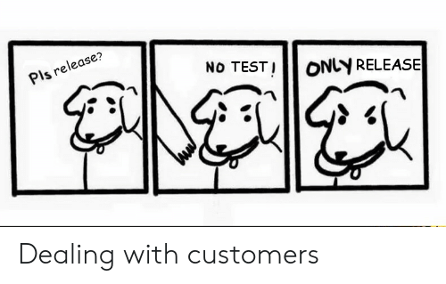 Test, Pls, and Release: Pls release?  No TEST! ONLY RELEASE  ONLY RELEAS Dealing with customers