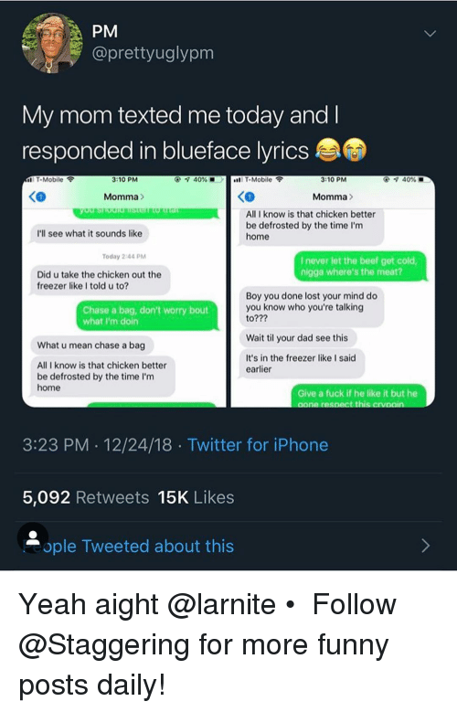 PM Vy Mom Texted Me Today and Responded in Blueface Lyrics T