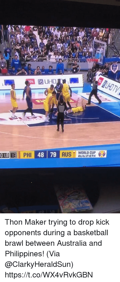 me.me: PO UHD  OL  -WORLD CUP .  QUALIFIERS Thon Maker trying to drop kick opponents during a basketball brawl between Australia and Philippines!   (Via @ClarkyHeraldSun)   https://t.co/WX4vRvkGBN