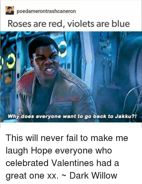 Jakku, Memes, and 🤖: Poedamerontrashoeaneron  Roses are red, violets are blue  Why does everyone want to go back to Jakku?! This will never fail to make me laugh Hope everyone who celebrated Valentines had a great one xx. ~ Dark Willow
