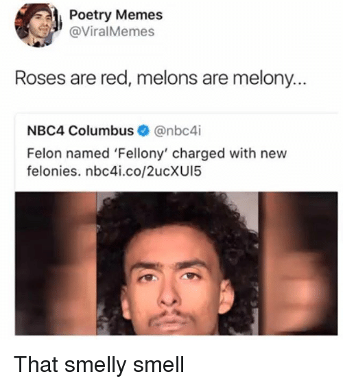 Memes, Smell, and Poetry: Poetry Memes  @ViralMemes  Roses are red, melons are melony.  NBC4 Columbus@nbc4i  Felon named 'Fellony' charged with new  felonies. nbc4i.co/2ucXUI5 That smelly smell