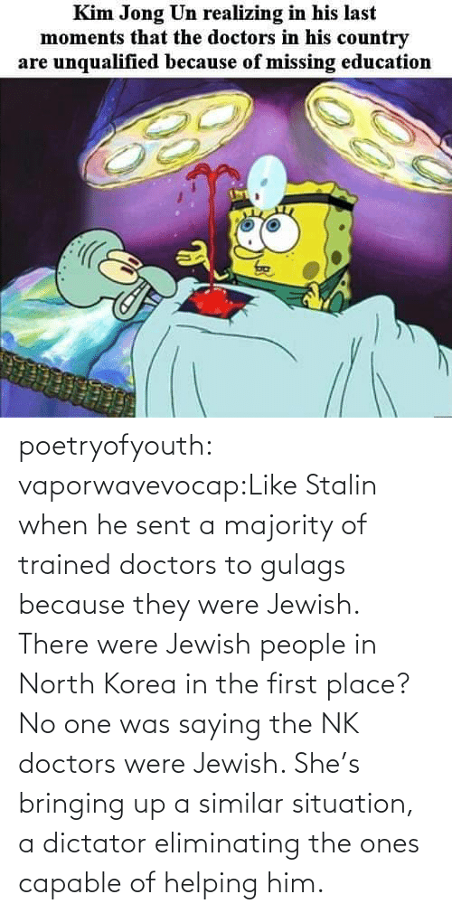North Korea, Tumblr, and Blog: poetryofyouth:  vaporwavevocap:Like Stalin when he sent a majority of trained doctors to gulags because they were Jewish. There were Jewish people in North Korea in the first place?   No one was saying the NK doctors were Jewish. She's bringing up a similar situation, a dictator eliminating the ones capable of helping him.