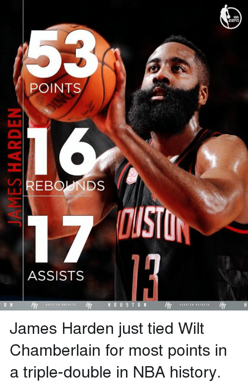James Harden, Memes, and Nba: POINTS  DS.  OISTO  ASSISTS  ON  H O U S T O N James Harden just tied Wilt Chamberlain for most points in a triple-double in NBA history.