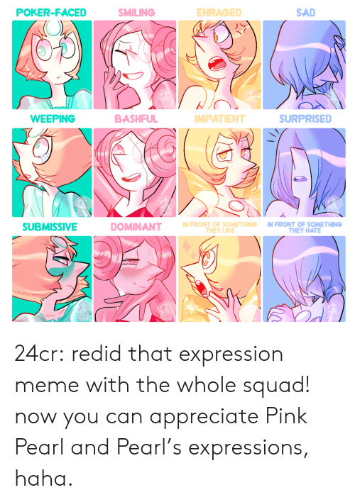 Meme, Squad, and Tumblr: POKER-FACED  SMILING  ENRAGED  SAD  BASHFUL  WEEPING  SURPRISED  MPATIENT  N FRONT OF SOMETHING IN FRONT OF SOMETHING  SUBMISSIVE  THEY HATE  THEY LIKE 24cr:  redid that expression meme with the whole squad! now you can appreciate Pink Pearl and Pearl's expressions, haha.