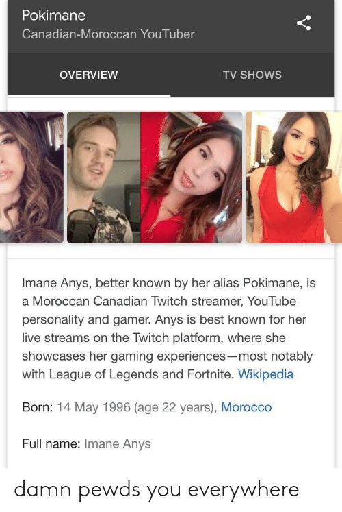 Pokimane Canadian-Moroccan YouTuber OVERVIEW TV SHOWS Imane