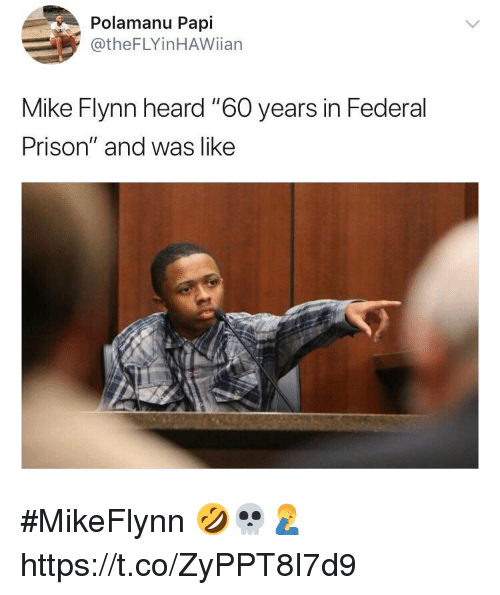 """Memes, Prison, and 🤖: Polamanu Papi  @theFLYinHAWiian  Mike Flynn heard """"6O years in Federal  Prison"""" and was like #MikeFlynn 🤣💀🤦♂️ https://t.co/ZyPPT8I7d9"""