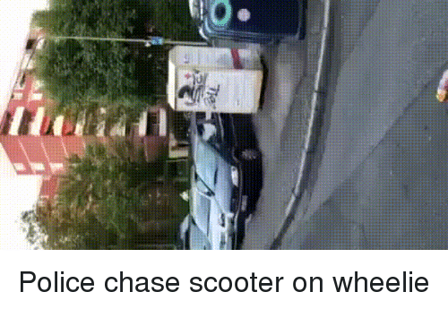 Funny, Police, and Scooter: Police chase scooter on wheelie
