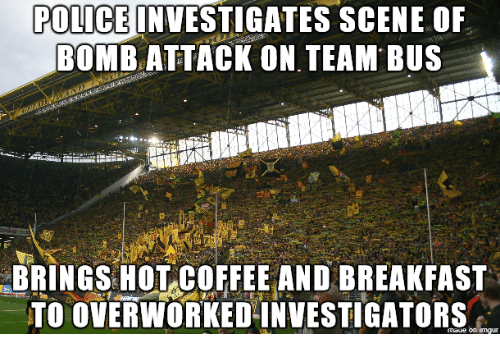 POLICE INVESTIGATES SCENE OF BOMBATTACK ON TEAM BUS BRINGS