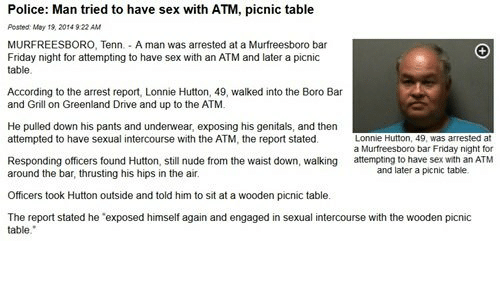 Sex with a picnic table