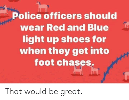 Dank, Police, and Shoes: Police officers shoulc  wear Red and Blue  light up shoes for  when they get into  foot chases. That would be great.