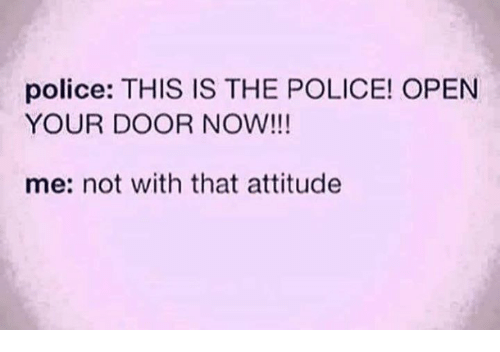 Police, Attitude, and The Police: police: THIS IS THE POLICE! OPEN  YOUR DOOR NOW!!!  me: not with that attitude