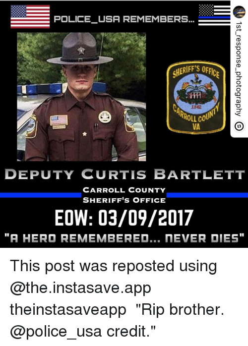 POLICE USA REMEMBERS SHERIFF'S O RROLL CO VA DEPUTY CURTIS BARTLETT