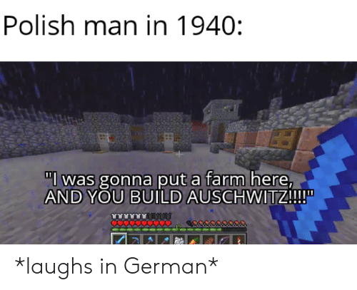 "Auschwitz, German, and Man: Polish man in 1940:  ""l was gonna put a farm here,  AND YOU BUILD AUSCHWITZ!!!  O0000 *laughs in German*"